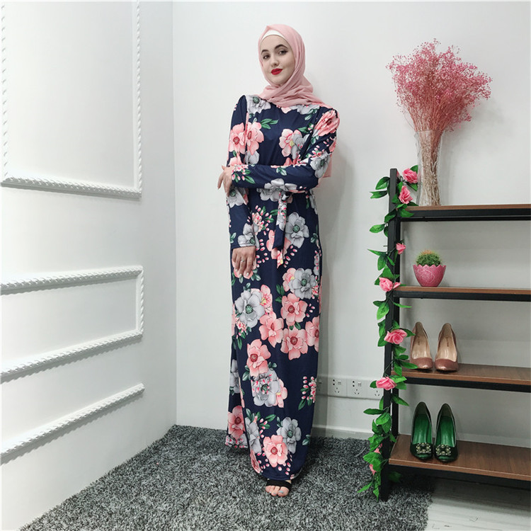 2019 Fashion printing maxi  indonesia muslim women long dress for Summer