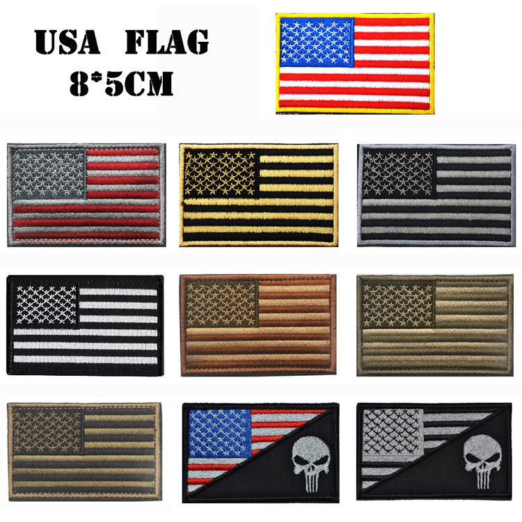 Wholesale In Stock No Minimum Embroidered Patches American USA Flag Patch with Hook and Loop