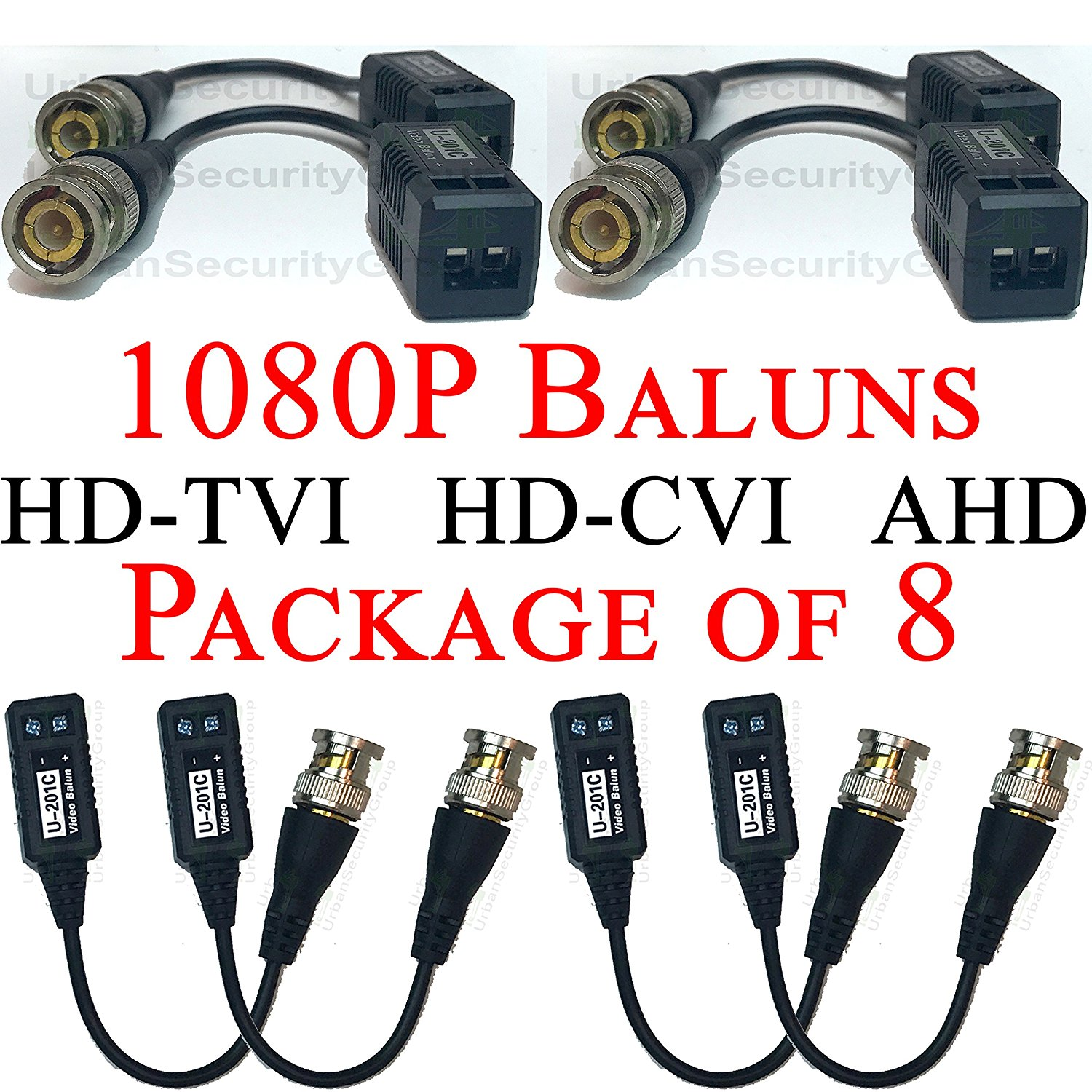 USG Premium Pack of Eight (8X) HD 1080P CCTV Balun Transceiver : Gold BNC + 2-Wire Screw Terminal : Video Over UTP Network Cable : Passive : Transmit 1080p Video for HD-TVI, HD-CVI, AHD Equipment