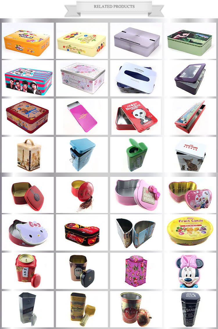 Factory Custom Printing Rectangular Packaging Candy Gift Fruit Tin Box