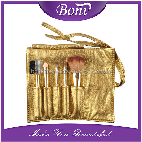 5pcs professional makeup brush set small cute brush kit golden PU leather