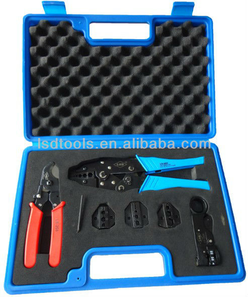 Plastic box package and hardware tools kit application multi function combination hand tool set (LS-05H-5A2) for BNC TV cables