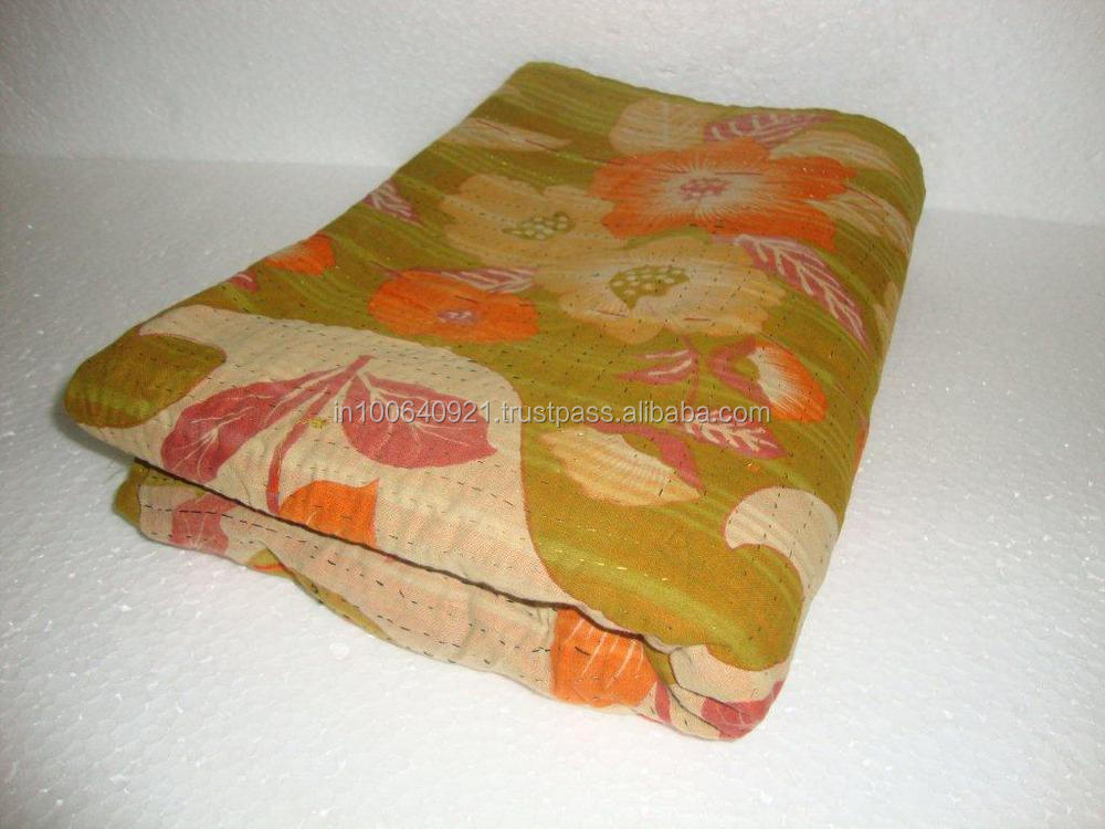 Traditional Handmade Indian ikat Kantha Reversible Quilt Pure Cotton Made Quilt / Blanket / Throw Bedspread ALIKQ418