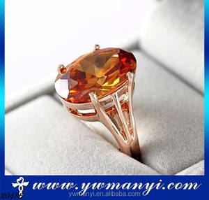 2016 Jewelry manufacturer China rose gold plated orange crystal gold ring price fashion jewelry R0486