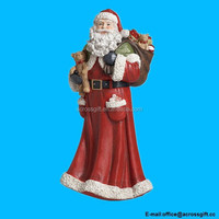 Santa Claus with Bag of Toys Traditional 16 inch Resin Stone Christmas Figurine Decoration