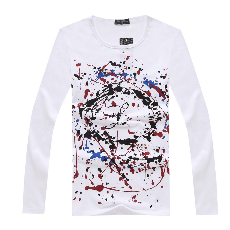 hot new 2014 fashion men 39 s t shirt 100 cotton long sleeve mens tee shirts tops printed vetement. Black Bedroom Furniture Sets. Home Design Ideas