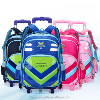 2018 High Quality Kids 4 Wheel School Bag Backpack Wheels Rolling