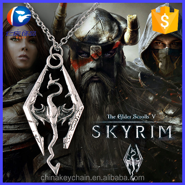 Hot selling items Skyrim metal dragon shape fashion necklace aluminum chain metal pendant necklace