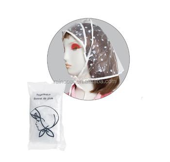 Fashion Plastic Rain Bonnet pvc Rain Hat 50bcacb7caf