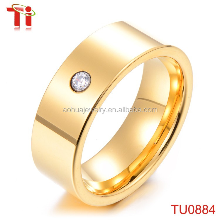 Gold Ring Design for Men and Women, Tungsten Carbide One Stone ...