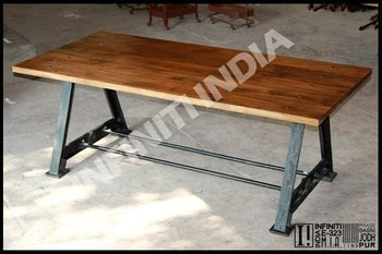 Antique Square Style Vintage Metal Dining Table Wooden Top Folding