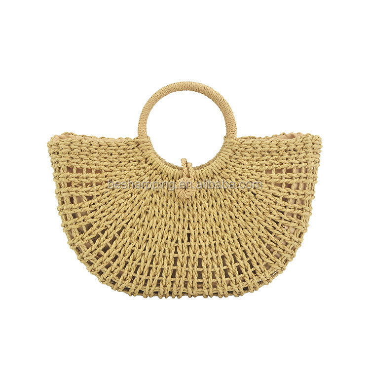 Factory Price Straw Woven Bags Women Hollow Out Design Tote Handbag