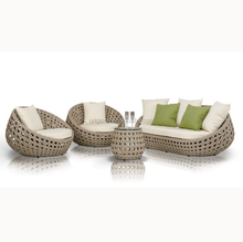 088 4 seater Romantic exotic hotel lobby octagonal weave wicker garden sofa set round pod Chairs outdoor rattan furniture