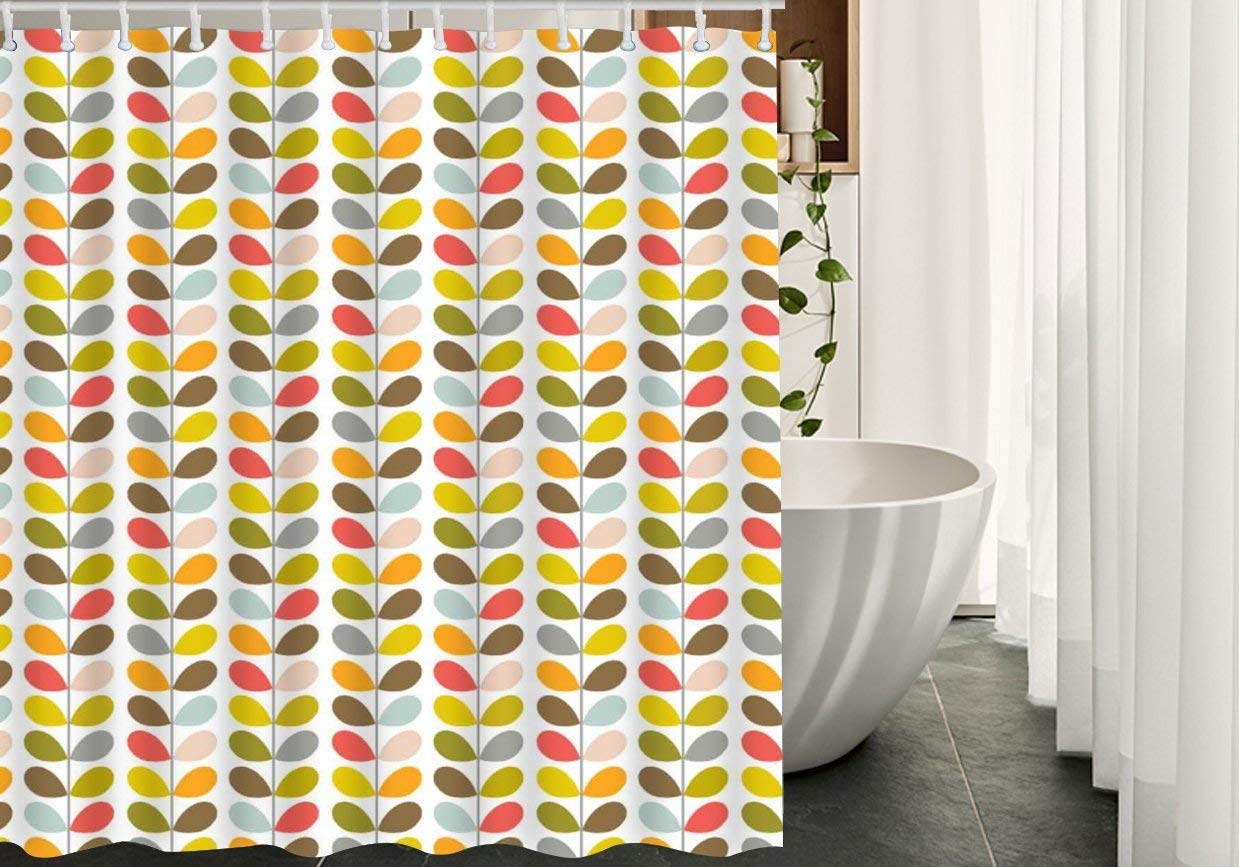 HGOD DESIGNS Orla Kiely Colorful Leaf Waterproof Fabric Polyester Shower Curtain Sets With12 Hooks