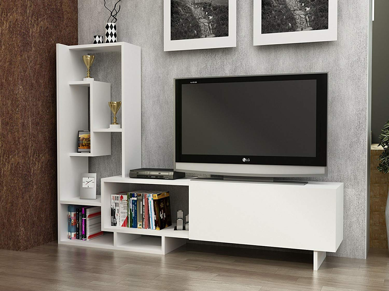 LaModaHome Tv Stand Unit   White Functional Decorative Stylish Living Room  Elegant Stand Storage Multi Function