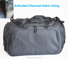 odor blocking travel Duffel bags with activated charcoal fabric lining