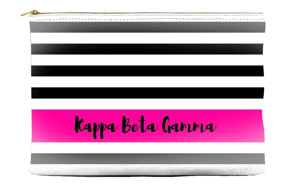 Kappa Beta Gamma Black White Stripes Hot Pink Cosmetic Accessory Pouch Bag for Makeup Jewelry & other Essentials