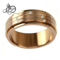Stainless Steel Ring 316 Chocolate Color Spinner Band CZ Diamonds
