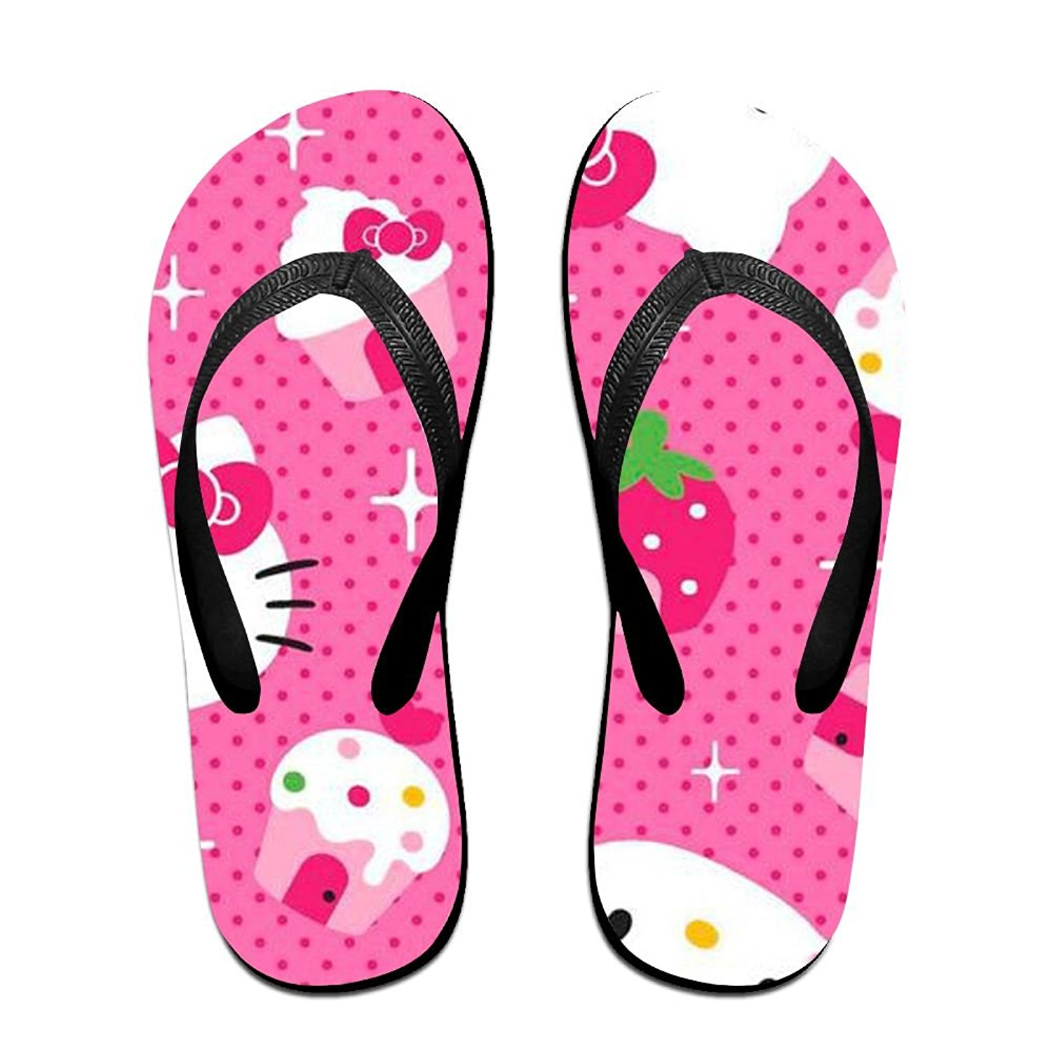 64d4b97d4 Get Quotations · Hello Kitty Cupcakes Non-slip Comfort Casual Personality  Trend Unisex Summer Beach Flip Flops