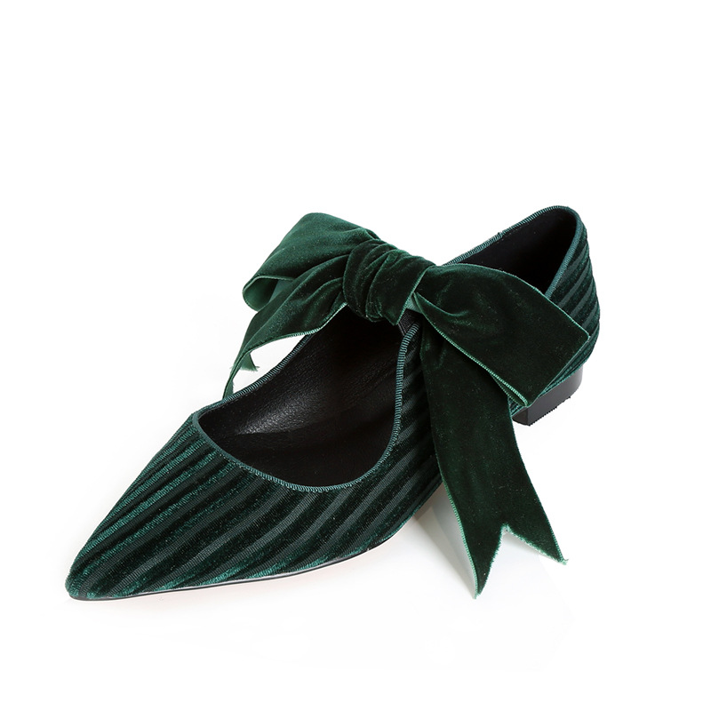 Flat Knot Shoes Knot Velvet Flat Bow Pointed Bow Toe Shoes Women Party Shoes Casual 0wASaqFa