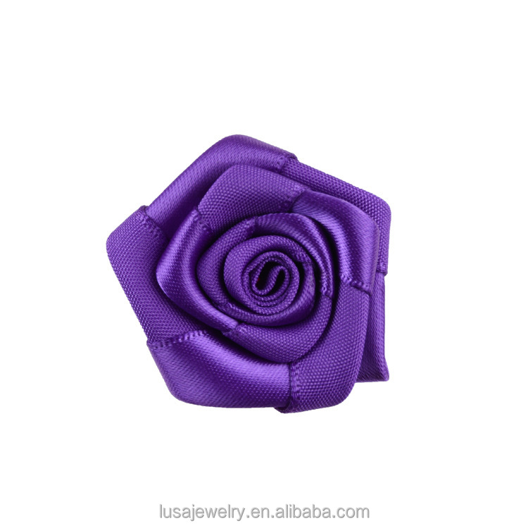 Various color available 3.5cm handmade artificial silk ribbon rose flower with flat backing FLS006