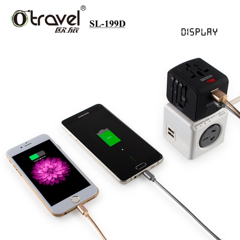 Hot selling Travel Adapter plug with digital display Universal power adapter travel converter au eu adaptor plug