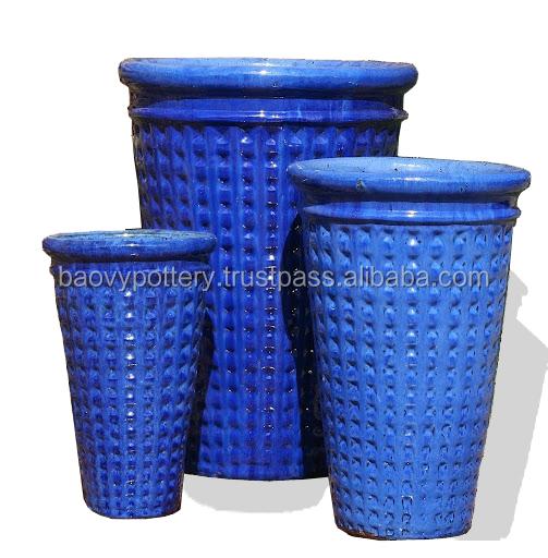 Blu alto rotondo in ceramica smaltata pot esterni vasi da - Vasi ceramica esterno ...