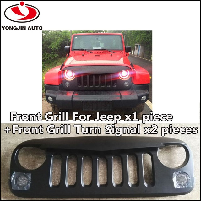 black plastic front grill with angry bird style for jeep