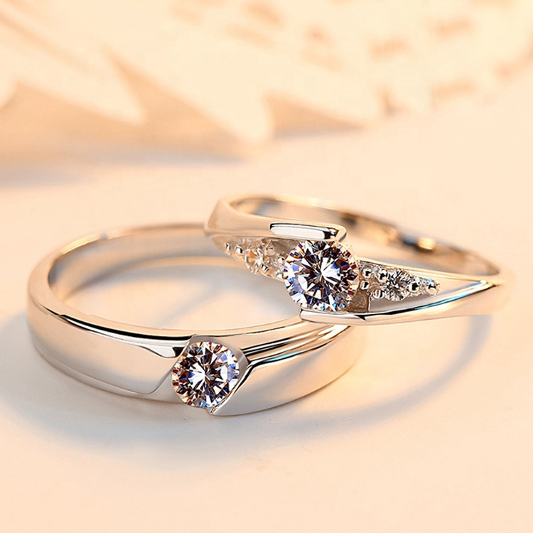 Fashion Simple Silver Plated Rings Jewelry Eternal Couple Diamond