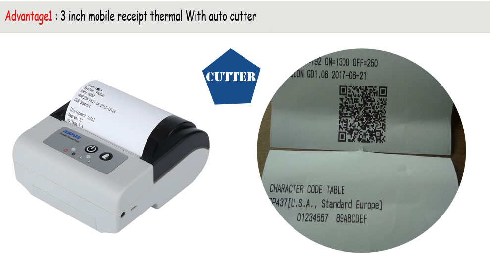 mobile pos printer 80mm thermal Bluetooth printer with auto cutter support ios printing