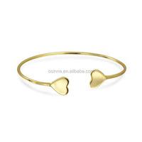 14K Gold Plated Sterling Silver Heart Cuff Bangles Bracelet OSSB64