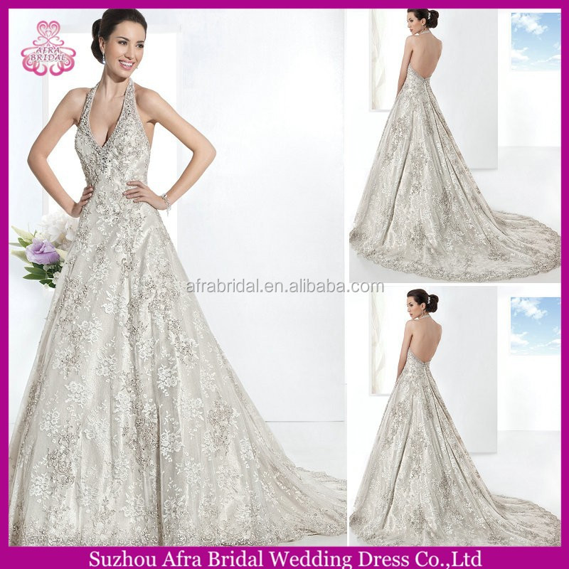 SD966 elegant halter backless cheap lace wedding dresses guangzhou wedding dress with prices