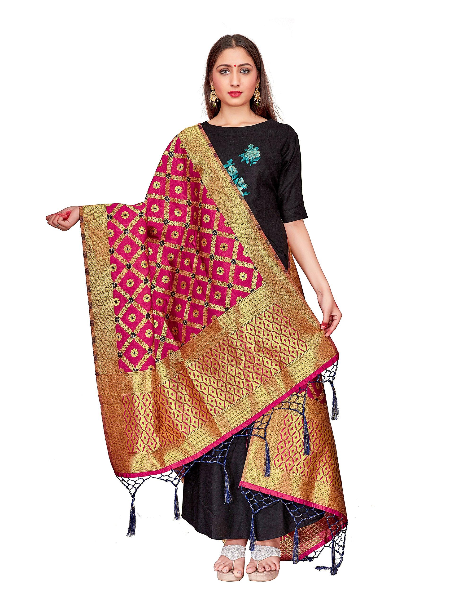 ELINA FASHION Women's Zari Work Indian Banarasi Art Silk Woven Only Dupatta for Dress Material & Salwar Suit