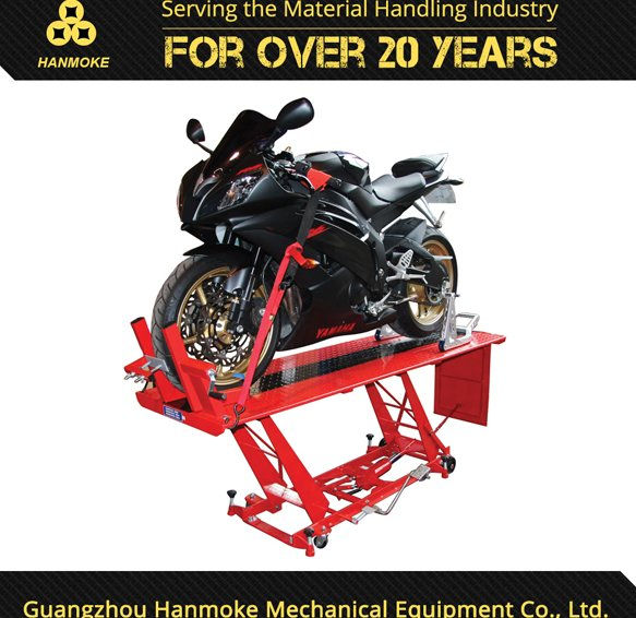 electric hydraulic motorcycle lift and lift top end table for repair