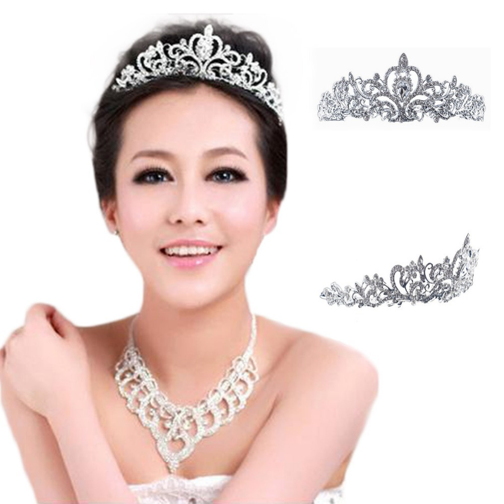 Women's Plated Silver Crystal Crown Wedding Bridal Princess Headdress Tiara Christmas Gift