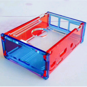 2017 Customized Acrylic Case Blue Red Clear Colorful Shell Enclosure Cover with Open Mouth Fans Hole for Raspberry Pi 3