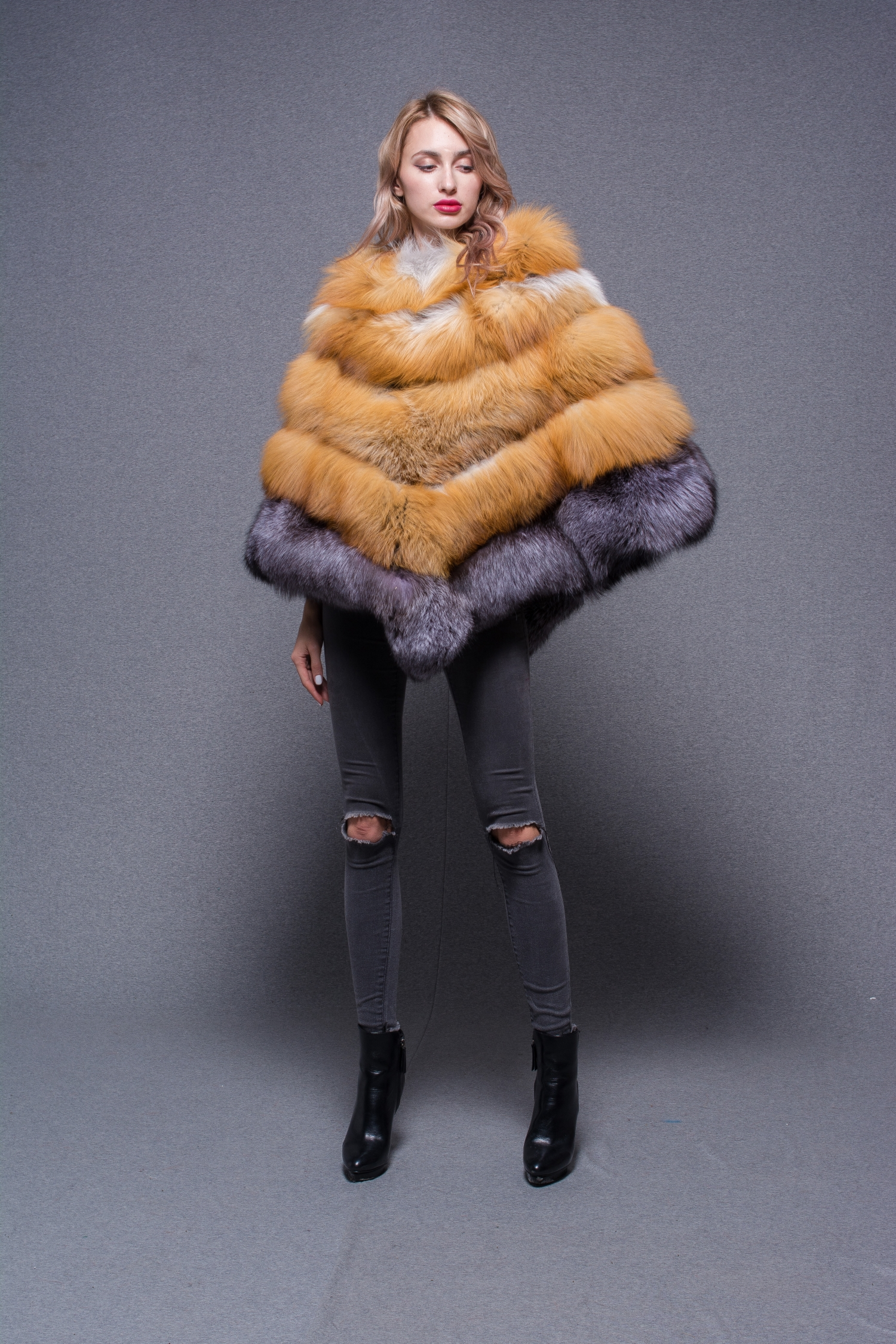 Hot Sale New Design Colorful Trendy Fox Fur Jacket Coat For Women