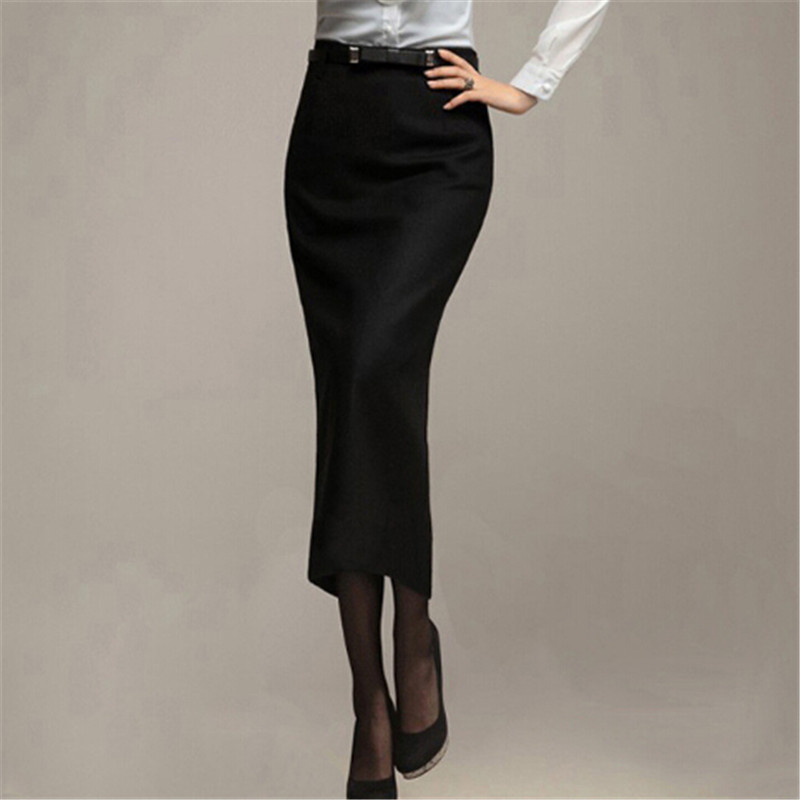 Long Black Pencil Skirt 73