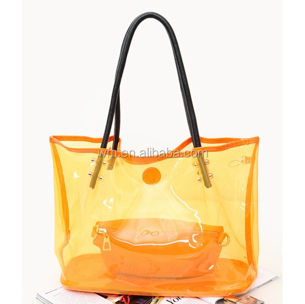 transparent PVC beautiful lady handbag, plastic beach bag 2015 for summer