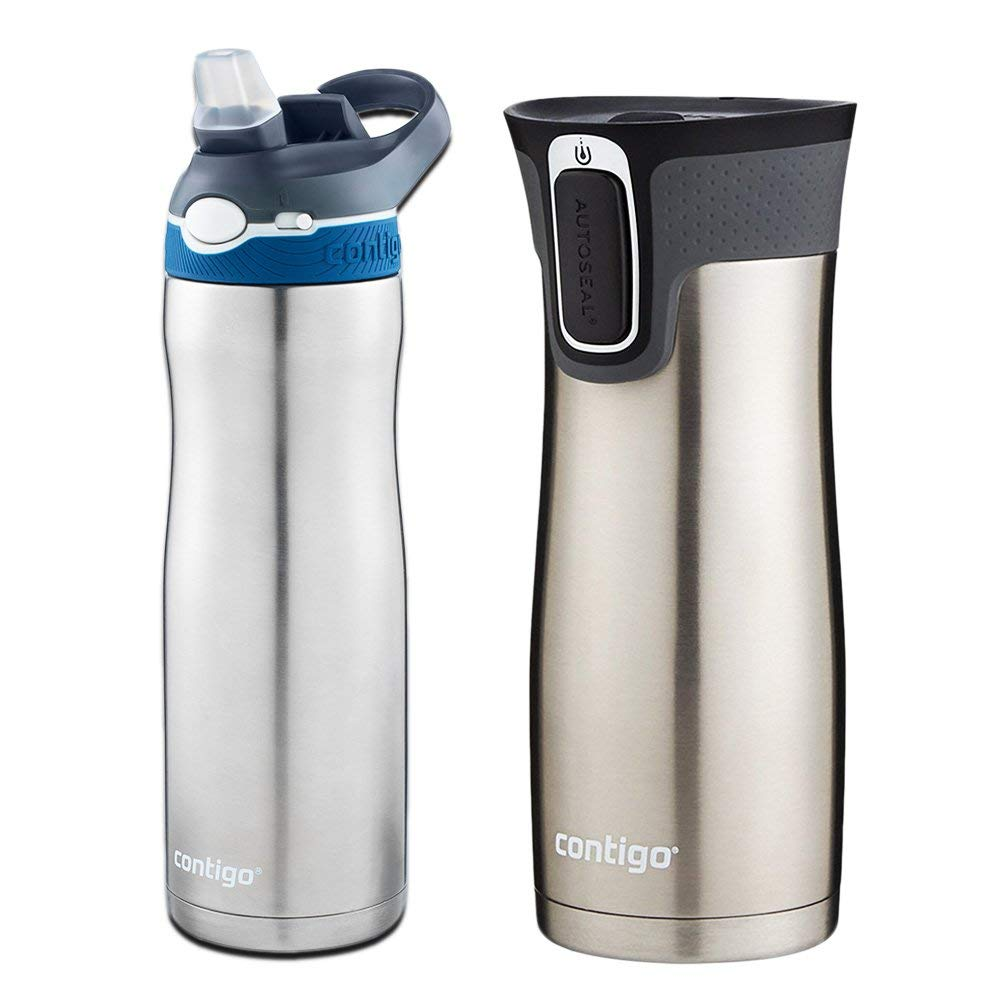 eb650657db Contigo AUTOSEAL Water Bottle and Travel Mug Set - West Loop Stainless Steel  Travel Mug (