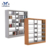 Coating Knock Down Book Shelf Metal Small Modern Steel Column And Double Side Hot Products Wooden Library Bookshelf