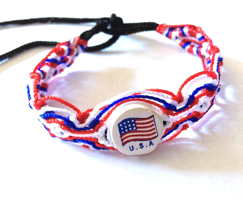 45e9f12672d8 USA/Canada or Spain Country Flag Cotton Woven Wrist Ties/Wristbands/Friendship  Bracelets