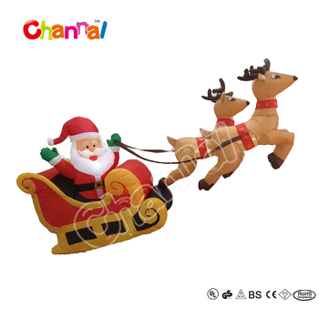 210cm Christmas Inflatable Santa With Sleigh Reindeer Flying