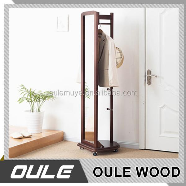 Multi fonction en bois cintre stand grand miroir avec porte manteau en gros c - Porte manteau cintre ...