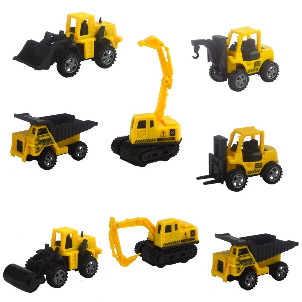 SET of 8 pcs Cute Engineering Pull Back Toy Excavator Forklift Burrow Truck Dump Truck Crane Charging