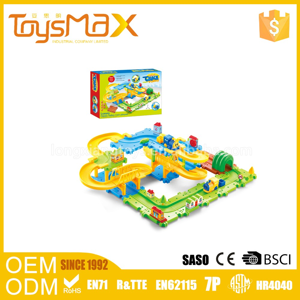 47pcs Toy Building Bricks For Kids Toy with Building Block Cartoon Train Track