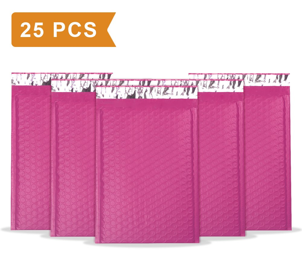 """UCGOU 6x10"""" Pink Poly Bubble Mailers Self Seal Padded Envelopes Shipping Envelope Bags Water Resistant 25pcs"""