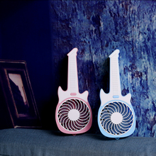 Promotional gift cute guitar shanped outdoor cool rechargeable usb mini battery air cooler fan