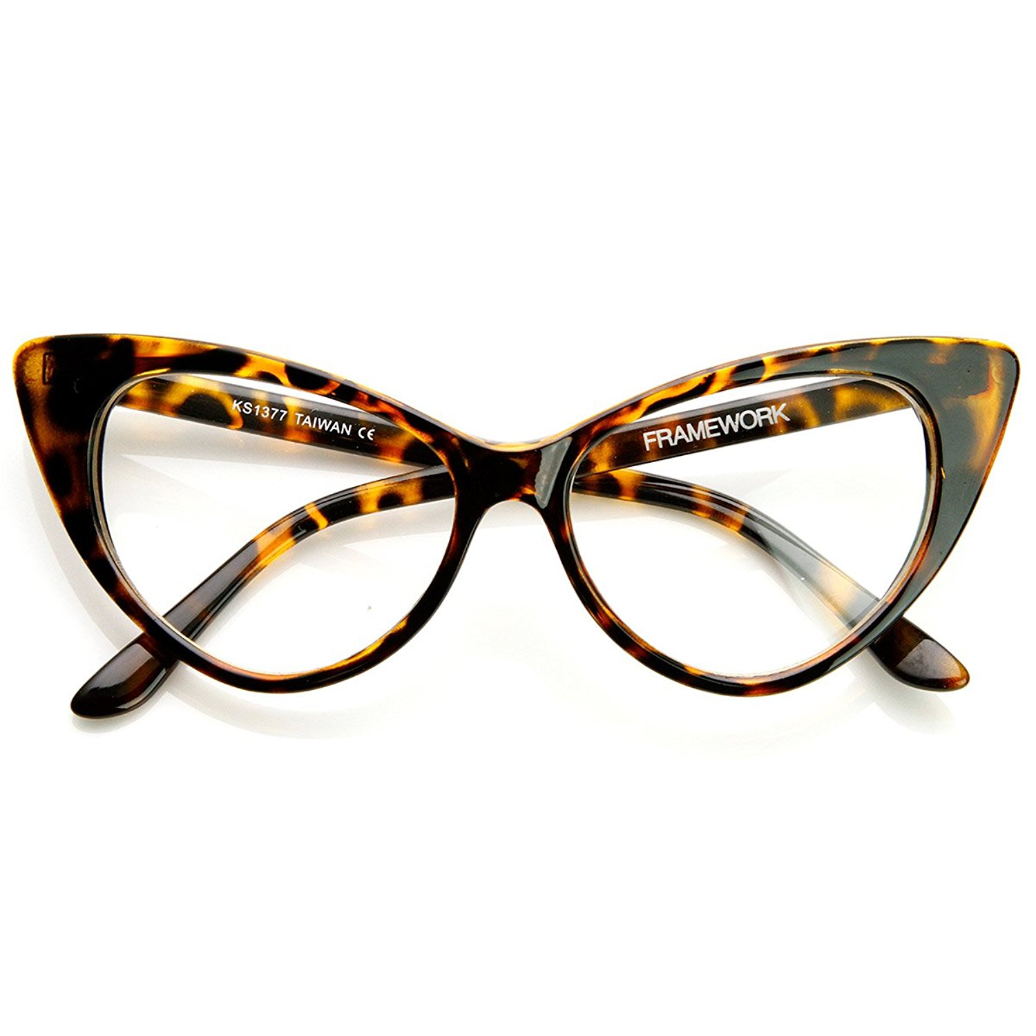 3569d4010a35 Get Quotations · zeroUV - Super Cat Eye Glasses Vintage Inspired Mod Fashion  Clear Lens Eyewear
