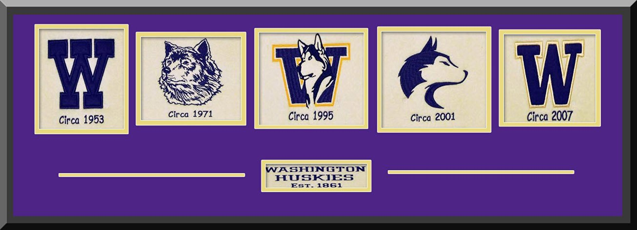 Washington Huskies Team Wool Blend Fabric Logos Throughout The Years With Team Color Double Matting-Framed Awesome & Beautiful-Most College Team Banners Available-Plz Go Through Description & Mention In Gift Message If Need A different Team